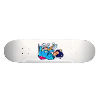Oriental Lady Tending Flowering Bonsai Blue Custom Skateboard