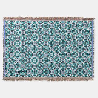 Oriental Moroccan Style Damask Turquoise Aqua Throw Blanket