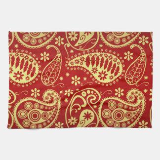 Oriental Motif, Paisley Pattern - Red Yellow Tea Towel