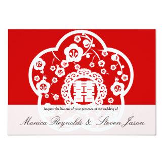 Oriental sakura wedding double happiness invitatio 13 cm x 18 cm invitation card