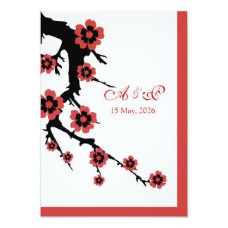 "Oriental Sakura Wedding Invite 5"" X 7"" Invitation Card"