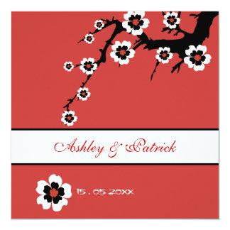 "Oriental Sakura Wedding Invite 5.25"" Square Invitation Card"
