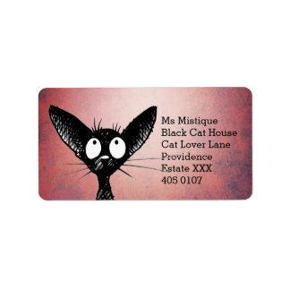 Oriental Shorthair Black Cat Label