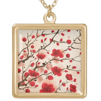 Oriental style painting, plum blossom in spring gold plated necklace