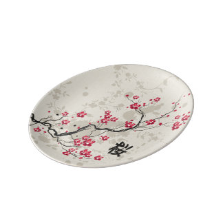 Oriental Style Sakura Cherry Blossom Art Plate