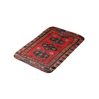 Oriental tribal carpet-pattern bath mats