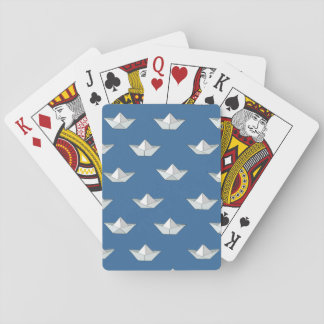 Origami Boats On The Water Pattern Playing Cards
