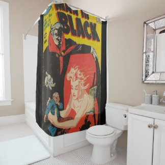 original man in black shower curtain