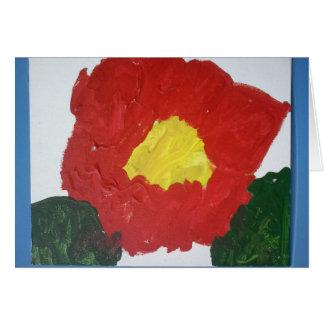Original Painting Red Flower card