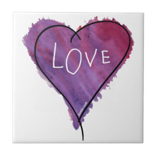 Original SumLuv - Love Heart (Purple) Small Square Tile