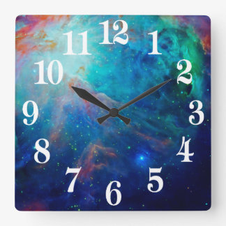 Orion Nebula shimmering blue NASA Square Wall Clock