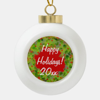 Ornament - Ceramic Ball Wreath with Greeting.