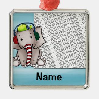 Ornament, Photo & Name Template Elephant Candycane Christmas Ornament