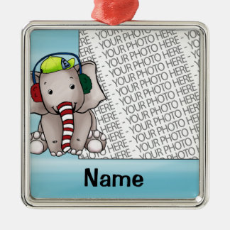 Ornament, Photo & Name Template Elephant Candycane Silver-Colored Square Decoration