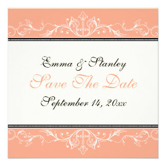 Ornamental coral white Save the Date announcement