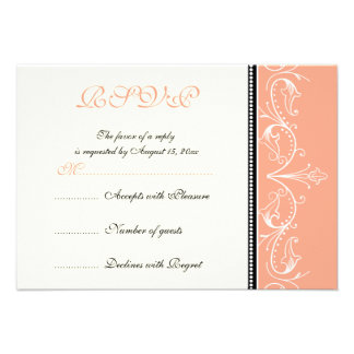 Ornamental coral white wedding RSVP card Personalized Announcement