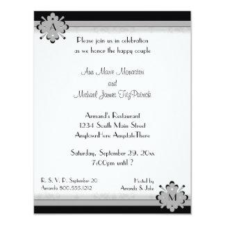 Ornamental Damask Silver Wedding Shower Invitation