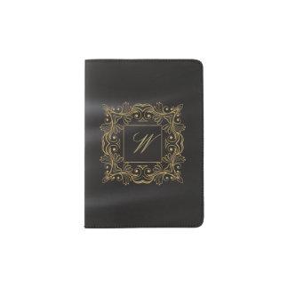Ornamental Frame Monogram on Black Silk Passport Holder