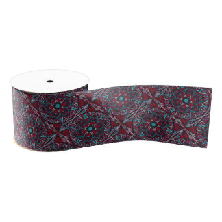 Ornamental tribal tradition circle pattern grosgrain ribbon