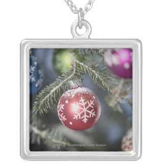 Ornaments on a Christmas tree Silver Plated Necklace