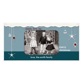 Ornaments & Snow Christmas Greeting Photo Card Template