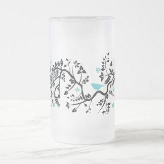 Ornate background with bird coffee mugs