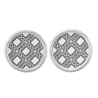 Ornate Black and White Cuff Links
