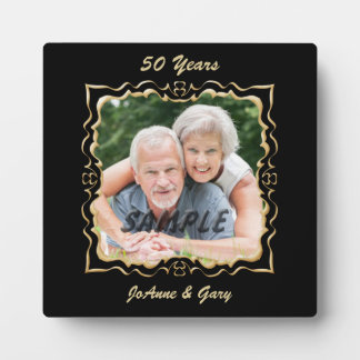 Ornate Black Gold Frame Anniversary Plaques