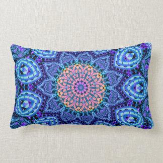 Ornate Blue Flower Vibrations Kaleidoscope Art Pillows