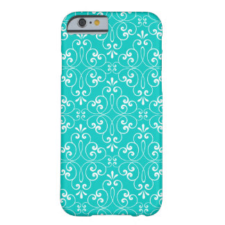 Ornate damask decorative teal aqua iPhone 6 case Barely There iPhone 6 Case