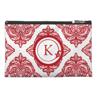 Ornate Damask Red and White Travel Accessories Bag