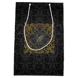 Ornate Diamond Monogram on Black Damask Medium Gift Bag