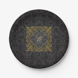 Ornate Diamond Monogram on Black Damask Paper Plate
