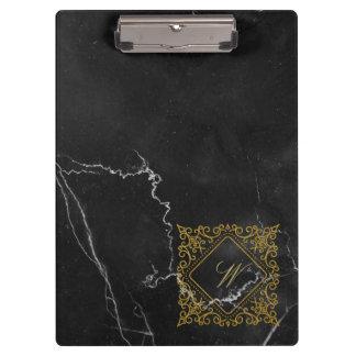 Ornate Diamond Monogram on Black Marble Clipboard