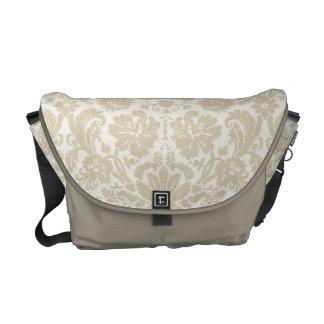 Ornate floral art nouveau pattern 2 beige messenger bags