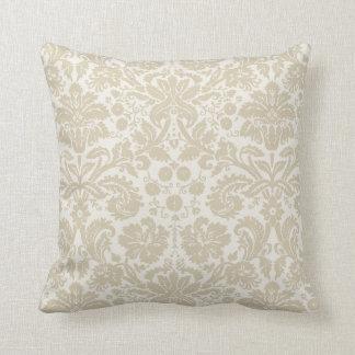 Ornate floral art nouveau pattern beige cushion