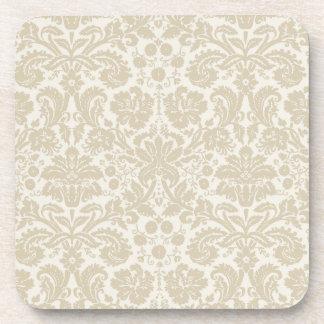 Ornate floral art nouveau pattern beige drink coaster