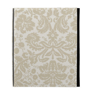 Ornate floral art nouveau pattern beige iPad folio case