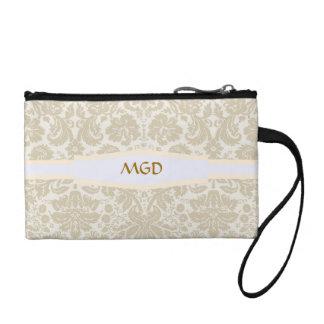 Ornate floral art nouveau pattern beige monogram change purses