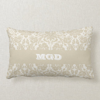 Ornate floral art nouveau pattern beige monogram cushion