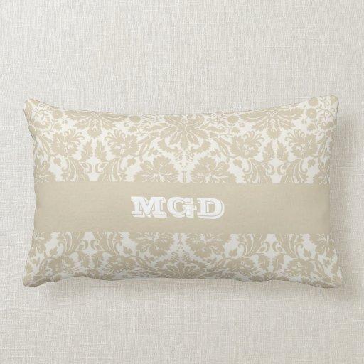 Ornate floral art nouveau pattern beige monogram throw pillow