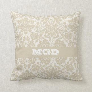 Ornate floral art nouveau pattern beige monogram pillow
