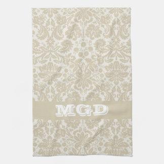 Ornate floral art nouveau pattern beige monogram kitchen towels