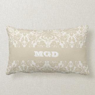 Ornate floral art nouveau pattern beige monogram lumbar pillow