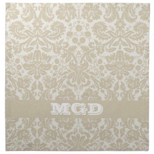 Ornate floral art nouveau pattern beige monogram printed napkins