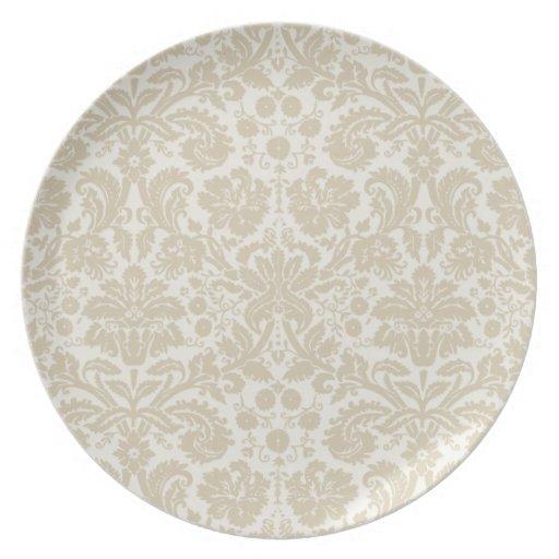 Ornate floral art nouveau pattern beige dinner plate