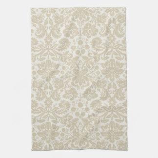Ornate floral art nouveau pattern beige tea towel