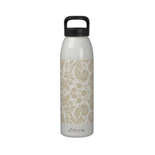 Ornate floral art nouveau pattern beige drinking bottles