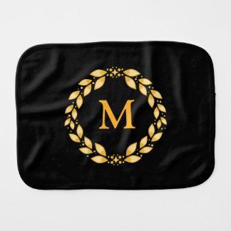 Ornate Golden Leaved Roman Wreath Monogram - Black Burp Cloth