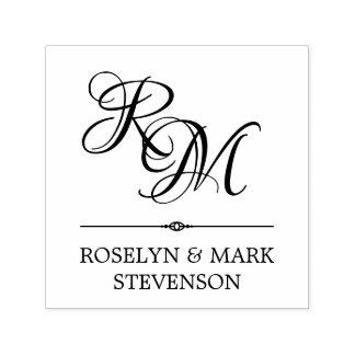 Ornate Monogram & Names Self-inking Stamp